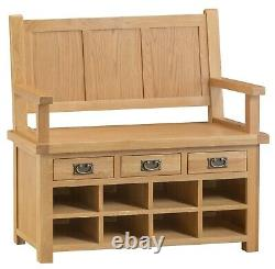 Kingsford Solid Oak Monks Bench / Rustic Hallway Shoe Storage Seating Bench