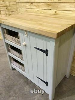 Kitchen Freestanding Cupboard Solid Oak Top & Vintage Trays Handmade Rustic Unit