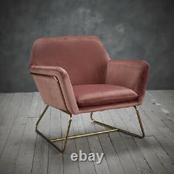 LPD Charles Armchair Contemporary Vintage Gold Frame & Vintage Pink Velvet