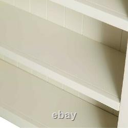 Large Cream Bookcase Painted Solid Wood 6 Display Shelves Living Room Farrow Oak