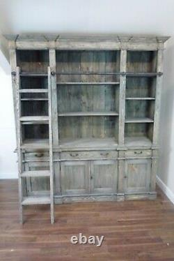 Large Estate Bookcase In Weathered Oak Finish With Ladder! Wood Bookcase