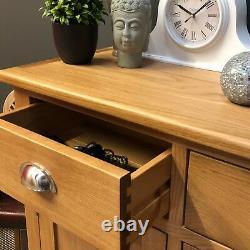 Large Oak Sideboard Solid Wood Light Oak 3 Door Storage Cupboard / Harvard