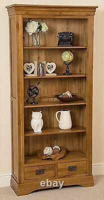 Large Solid Oak Bookcase with Drawers French Rustic Wood Display Cabinet