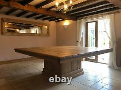 Large rustic English oak dining table reclaimed solid pedistal 16 seater bespoke