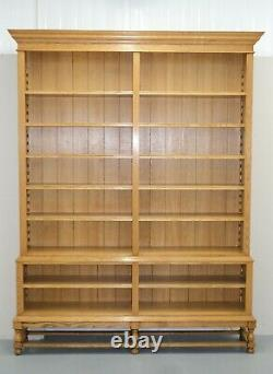 Light Oak Two Part Open Front Library Bookcase On Turned Feet Very Solid