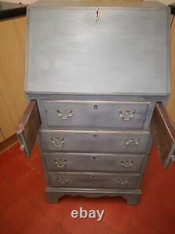 Lightly Distressed Solid 0ak Bureau In Colour Of Graphite By Annie Sloan