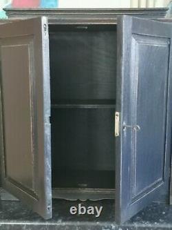 Lightly Distressed Solid Oak Bathroom/kitchen/utility Wall Cupboard Black F&b