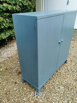 Lightly Distressed Vintage Solid Oak School/hallway/pantry Cupboard In Blue F&b