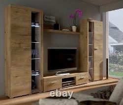 Living Room furniture set White Oak effect entertainment unit tv stand New