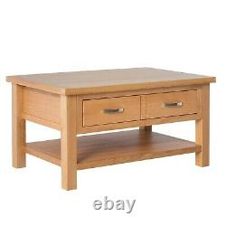London Oak Coffee Table Large Light Solid Wooden Table with Storage Drawer Shelf