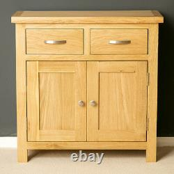 London Oak Mini Sideboard Cabinet Light Solid Wood Small Cupboard with Drawers