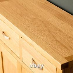 London Oak Small Sideboard Cabinet Light Solid Wood Cupboard 2 Doors & Drawers