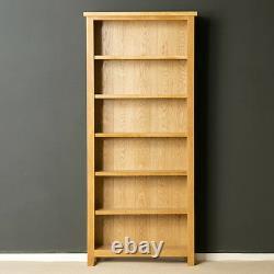 London Oak Tall Bookcase Large Light Solid Wood Bookshelf 6 Wide Display Shelves