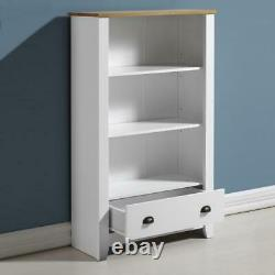 Ludlow Bookcase in White and Oak Effect