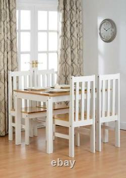 Ludlow White & Oak Effect 4 Seater Dining Set, Table & 4 Chairs New