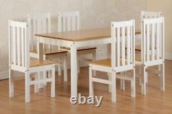 Ludlow White & Oak Effect 6 Seater Dining Set, Table & 6 Chairs New