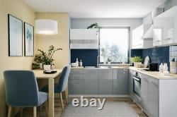 MB 6 kitchen units set, grey lacquered high gloss, complete kitchen units 200cm