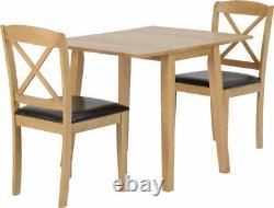 Mason Oak Varnish Brown Drop Leaf Dining Set 2 Chairs