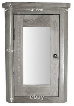 Mirror Bathroom Cabinet Solid Oak Corner Wall Mounted Storage Cupboard 600mm