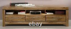 Modern 200cm Wide TV Cabinet Stand Unit 3 Drawers & LEDs Medium Oak Effect Gent