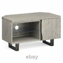 Modern Grey Oak Corner TV Unit Solid Wood Television Stand Industrial Metal Legs