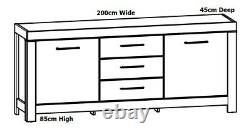 Modern Large Sideboard Dresser Storage Cabinet 2m 200cm Medium Oak Effect Gent