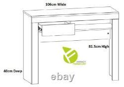 Modern White Gloss Oak Finish Narrow Desk Console Table Drawer Soft Close Holten