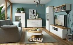 Modern White Gloss Oak finish Coffee Table Shelf Rectangle Living Room Erla
