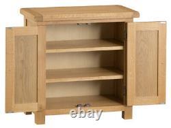 Montreal Oak 2 Door Cupboard / Rustic Solid Wood Mini Sideboard / Slim Cabinet