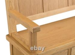 Montreal Oak Large Monks Bench / Rustic Solid Wood Hall Storage Unit with Holes