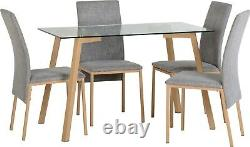 Morton 4 Seat Dining Set in Clear Glass Oak Effect Veneer and Grey Fabric