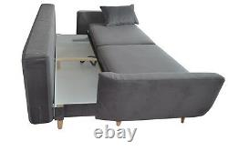 NEW 3 Three Seater Sofa Bed with Storage Grey fabric, Massive Bed. Oak Legs