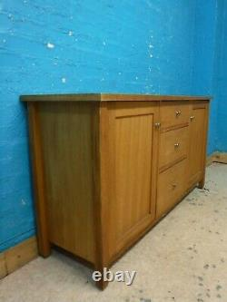 NEXT SOLID OAK WOOD WIDE 3 DRAWER SIDEBOARD H81 W150 D45cm- MORE ITEMS LISTED