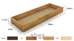 NODAXNew Solid Wooden Pine UnderBed StorageColourWalnutOakAlderPine