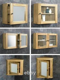 Oak Bathroom Cabinet Wall Mounted Corner and Square Storage Mirror Glass