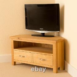 Oak Corner TV Stand Unit with Drawer Shelf Newlyn Solid Wood Furniture Cabinet