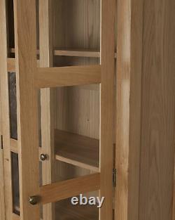 Oak Display Cabinet Solid 2 Doors 1 Drawer in Chunky Harrogate Natural