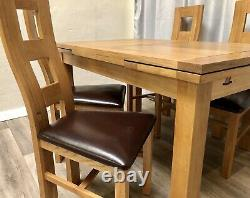 Oak Furniture Land 100% Solid Oak Extendable Dining Table & 4 Solid Oak Chairs