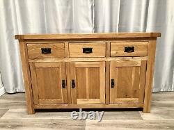Oak Furniture Land 100% Solid Oak Sidebaord Cabinet Unit 3 Drawers 3 Cupboards