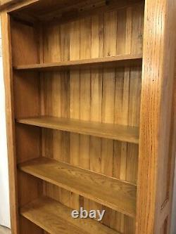 Oak Furniture Land 100% Solid Oak Tall Bookcase Unit 6 Shelves Rustic Range
