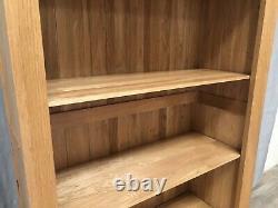 Oak Furniture Land 100% Solid Oak Tall Bookcase Unit Shelves Drawer Bevel Range