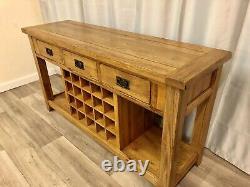 Oak Furniture Land Rustic Solid Oak Sidebaord Cabinet Unit Console Wine Rack