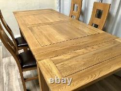Oak Furniture Land Solid Oak Extendable Dining Table & 4 Solid Oak Dining Chairs