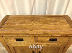 Oak Furniture Land Solid Oak Rustic Sideboard Cabinet Unit 2 Drawers 2 Cupboards