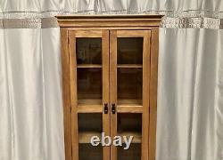 Oak Furniture Land Solid Oak Tall Bookcase Display Cabinet Unit Shelves & Drawer