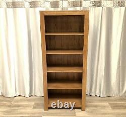 Oak Furniture Land Solid Oak Tall Bookcase Unit With 5 Shelves Rustic 100% Oak