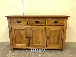 Oak Furniture Rustic 100% Solid Oak Sidebaord Cabinet Unit 3 Drawers 3 Cupboards