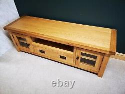 Oak Large TV Stand / Wide Television Unit / Solid Wood Media Cabinet DVD Storage