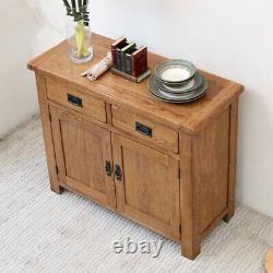 Oak Sideboard Solid Wood Small 2 Door+2 Drawer Storage Cupboard Dining Storage