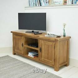 Oak TV Stand Solid Wood 2 Door TV Cabinet Table Storage Unit Rustic Oak Cabinet